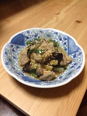 鶏肉とナスの味噌炒め