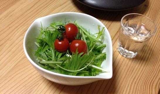 水菜とトマトのサラダ