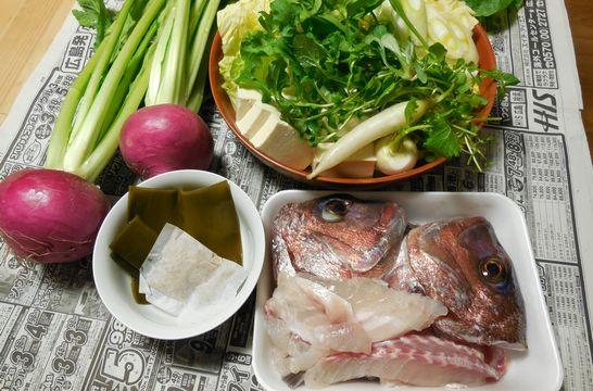 鯛アラ鍋(材料)
