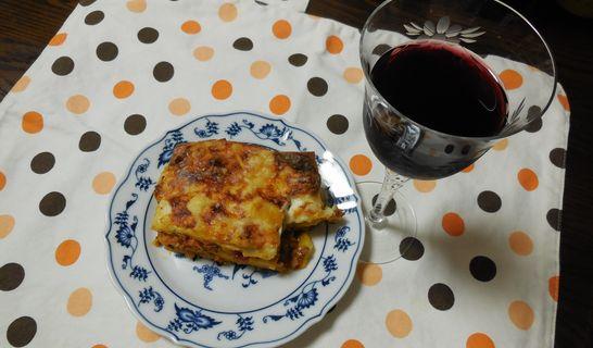 ラザニアと赤ワイン